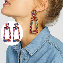 FEECOLOR 1 PAIR Earrings Exaggerated Personality Dangle Acetate Plate Marble Pattern Jewlery Accessories Gifts