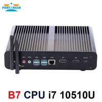 相伴ファンレスミニpcインテルコアi7 10710U 10510Uデスクトップpcのwindows 10 2 * DDR4 M.2 nvme + msata + 2.5 'sata htpcネットトップhdmi dp