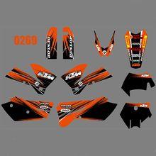 Für KTM 125 200 250 300 400 450 525 540 EXC 2005 2006 2007 Volle Grafiken Decals Aufkleber Kit Custom anzahl Name Glänzend Aufkleber