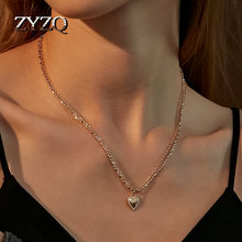 ZYZQ Individuality Double Layer Heart Shap Chains Pendant Necklace for Women Loves Couples Statement Necklace Birthday Gift