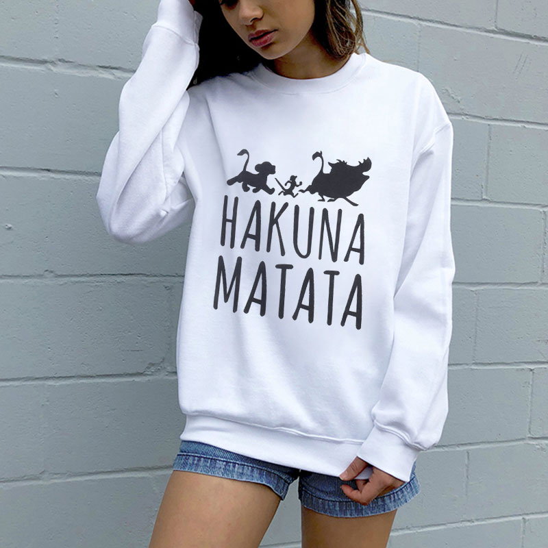 The Lion King Hakuna Matata Pullover Streetwear Sweatshirt Winter Autumn Ulzzang Kawaii Fashion Women Hooodies