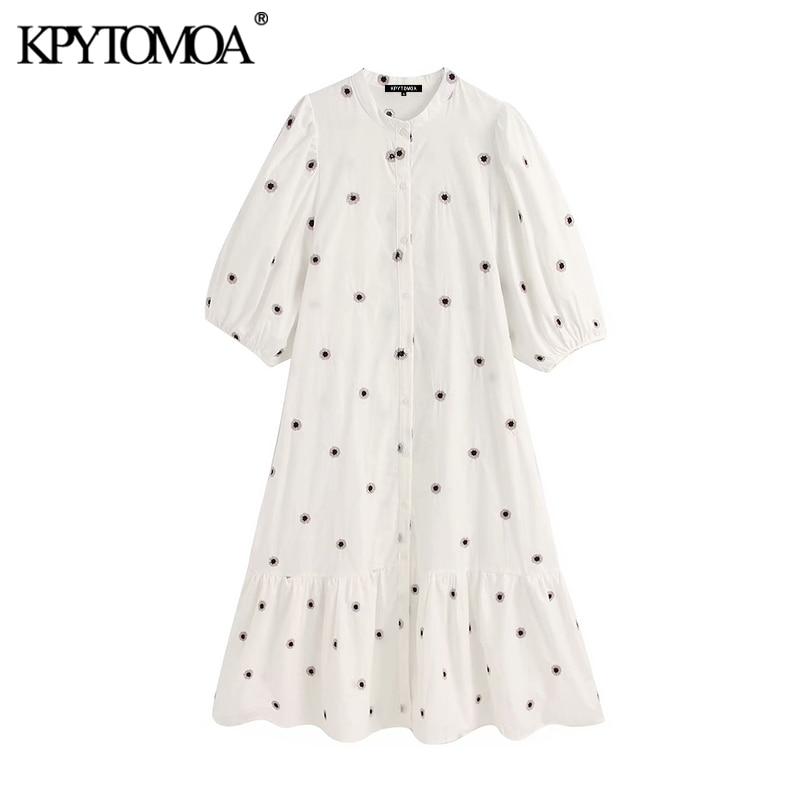 KPYTOMOA Women 2020 Chic Fashion Embroidery Midi Dress Vintage O Neck Short Puff Sleeve Female Dresses Vestidos Mujer