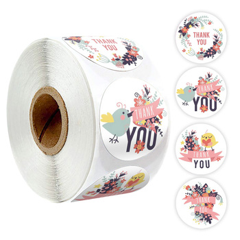 500pcs/roll thank you stickers seal labels handmade flower sticker for gift decoration cute stationery sticker 500pcs animal reward stickers with 8 cute thank you stickers seal lables for kidsback to school gift kindergarten toys sticker