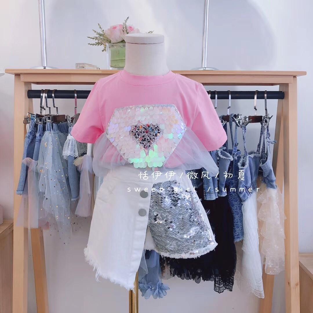 Girls T-shirt Summer 2020 New Children's Shirt Half-sleeved Foreign Summer Breathable Sequin