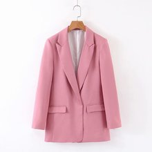 Womens Casual Suit za Autumn Pink Loose Office Lady Suits  With Pockets