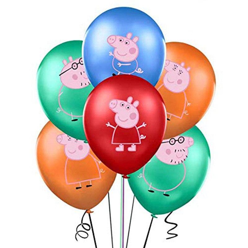 12 pçs peppa pig cor 2.8g george festa de aniversário balão globos rosa azul porco chá de fraldas brinquedos festa suprimentos