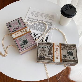 Shine Rhinestone wzór dolara Box torby damskie kopertówki eleganckie wieczorowe torebki wieczorowe luksusowe wesele kolacja torebki torebki tanie i dobre opinie Botteven Metalowe Hasp HARD NONE vintage Brak Party WOMEN Cartoon Pojedyncze Kieszeń na telefon komórkowy Łańcuchy Diamenty