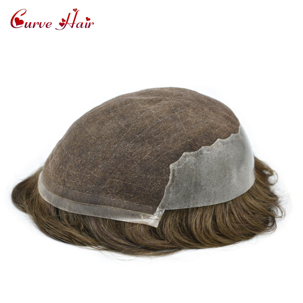 French Lace Front Toupee Hair For Men Hand-Tied Mens Toupee Human Hair piecs Q6