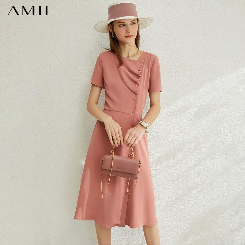 AMII Minimalism Spring Summer New Pleated Solid Dress For Women Causal High Waist Slim Female Dress 12030236