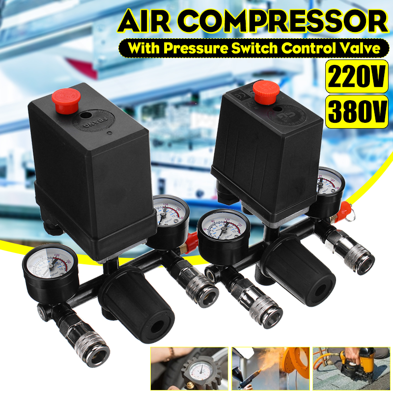 Drillpro 240V/380V AC Regulator Duty Air Compressor Pump Pressure Control Switch Air Pump Control Valve 7.25-125 PSI With Gauge