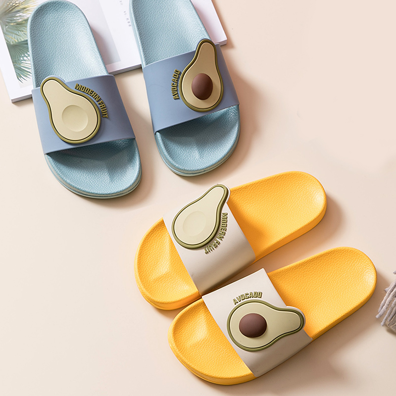 Women Summer Slippers Slide Sandals Beach Slides Cartoon Fruits Avocado Flip Flops Non-slip Soft Sole Women Men Lovers Shoes