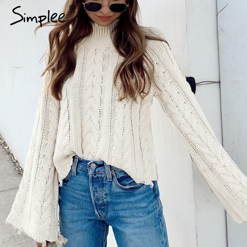 Simplee White Knitted Sweater Women Turtleneck Flare Sleeve Tassel Ladies Pullover Jumper Autumn Winter Solid Sweater Female