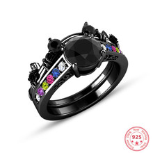 Silver 925 Jewelry Black Topaz Obsidian Ring for Women Sparkling Dainty Wedding Gemstone Bizuteria 1carat Diamond Ring Jewelry(China)