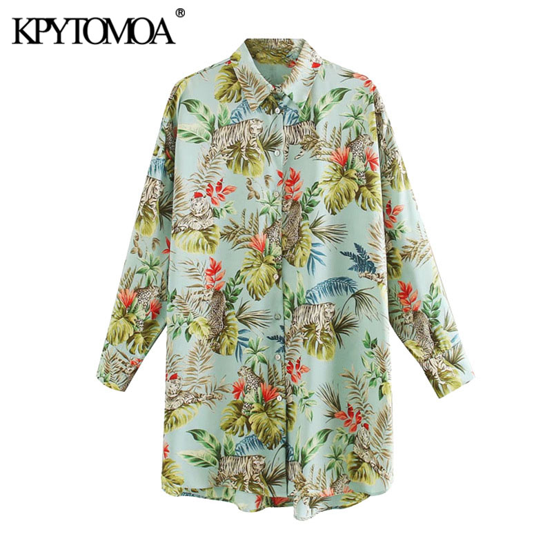KPYTOMOA Women 2020 Chic Fashion Animal Print Loose Blouses Vintage Lapel Collar Long Sleeve Asymmetric Female Shirts Chic Tops