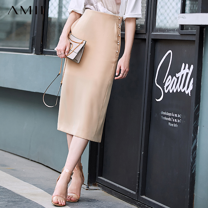 Amii Minimalist Chiffon Split Mid-Long Skirt Summer Women Pearl Buckle High Waist Solid Slim Fit Female Skirt 11960059