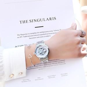 Image 2 - Reloj mecánico automático de acero inoxidable para Mujer, cronógrafo de plata 2019, con correa de acero inoxidable