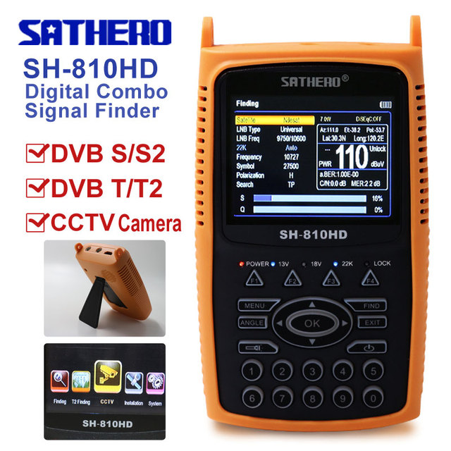 Digital Satellite Finder  satellite meter SAT Finder  DVB S2 DVB T2 Sathero SH-810HDFull 1080P CCTV Tester TVI AHD 8MP finder