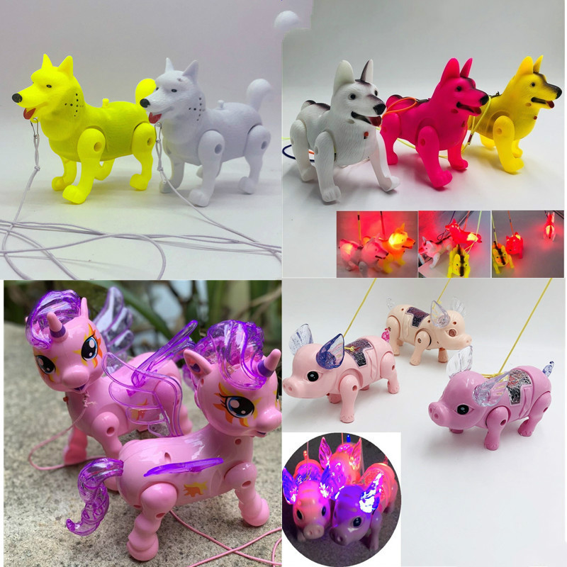 Electronic Walking Pig Wolf Unicorn LED Glow Pet Toy Electric Musical Flashing Interactive Toys Christmas  For Children Gift