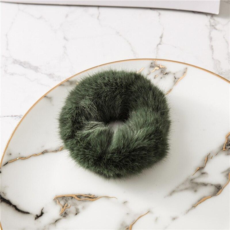 Мягкая Плюшевая повязка для волос резинки для волос натуральный мех кроличья шерсть мягкие эластичные резинки для волос для девочек однотонный цветной хвост резинки для волос для женщин - Цвет: dark green