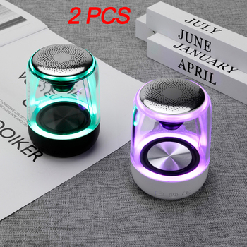 2pcs yAyusi Portable Bluetooth 5.0 Speaker Transparent LED Luminous Subwoofer TWS 6D Surround HIFI Stereo TWS interconnection