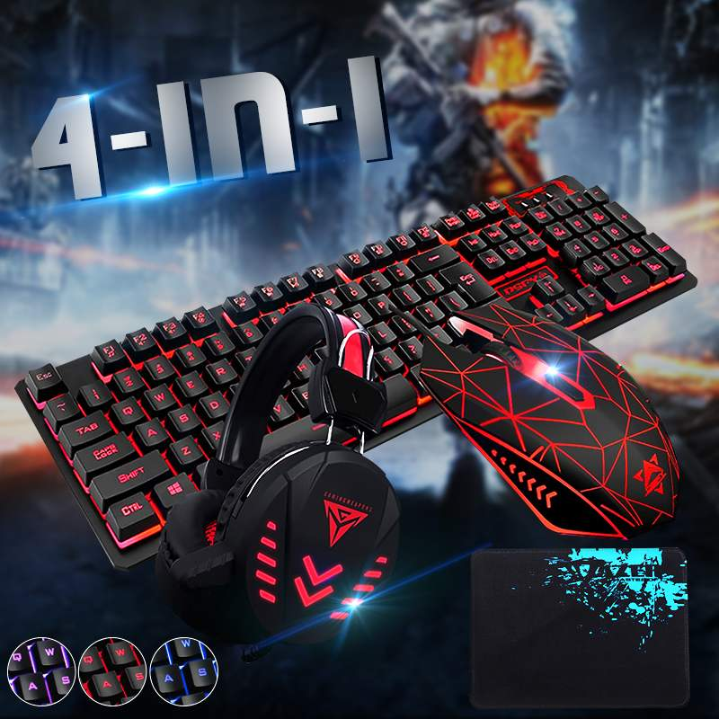 LEORY 4Pcs Illuminated Gaming Mouses Pad Accessories Home Mechanical Wired USB Keyboard Set Computer Desktop Backlight Headset