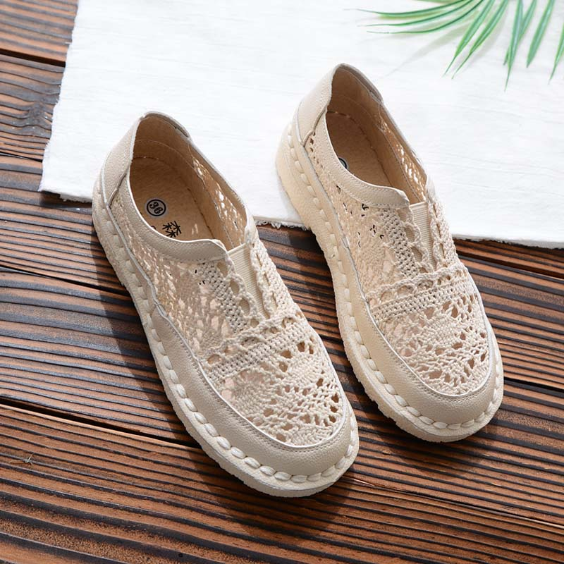 2019 New Baotou Flat Openwork Lace Women's Shoes