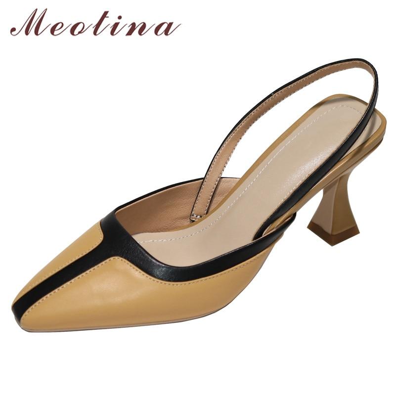Meotina High Heels Women Pumps Natural Genuine Leather Kitten High Heel Slingbacks Shoes Sheepskin Square Toe Shoes Lady Size 40