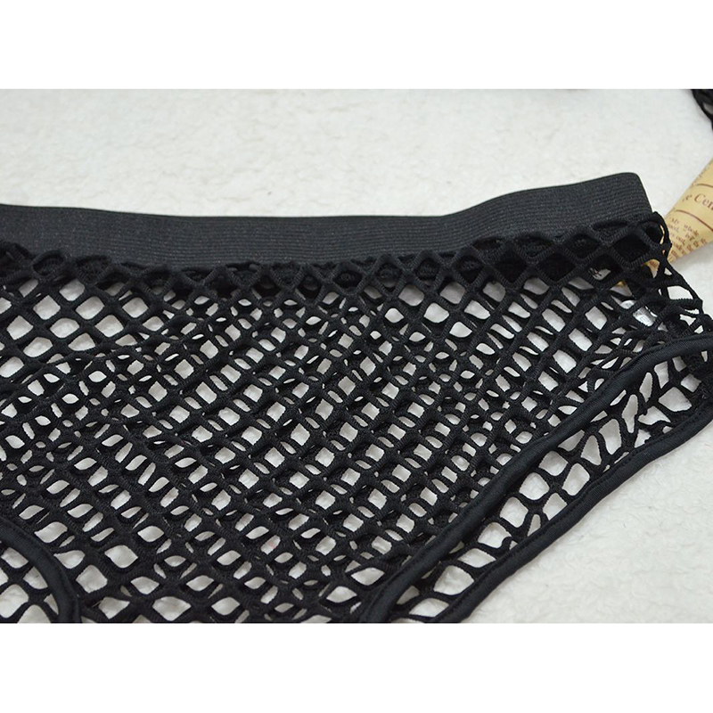 Black See Through Two 2 Piece Set O Neck Stretchy Full Sleeve Fishnet Grid Crop Top Hot Skinny Panties Clubwear 2 Pcs Outfits 6