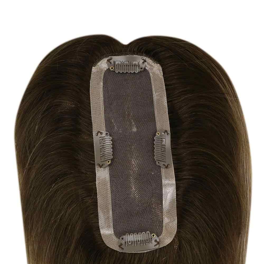 Volledige Shine Kleur #3/8/22 Remy Kroon Haar Topper 6.5*2.25inch Kroon Voor Vrouwen mono Toppers Met Clop Toupetje Voor Dunner Wordend Haar