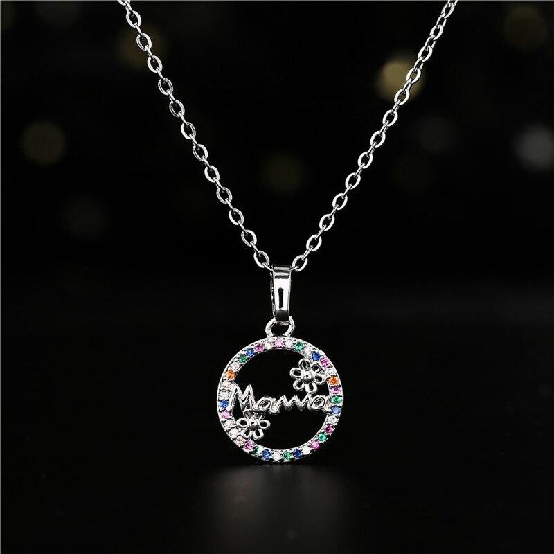 Nowe mody okrągły urok śliczne Mama słonecznik naszyjnik dla kobiet miedzi cyrkonia biżuteria dzień matki prezent