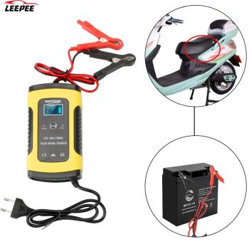 12V 6A Pulse Repair Lead Acid Battery-Chargers For Auto Moto Lead Intelligent Car Motorcycle Battery Charger Digital LCD Display 12v 7a pulse battery charger digital with lcd display motorcycle car battery charger agm lead acid smart fast battery charger