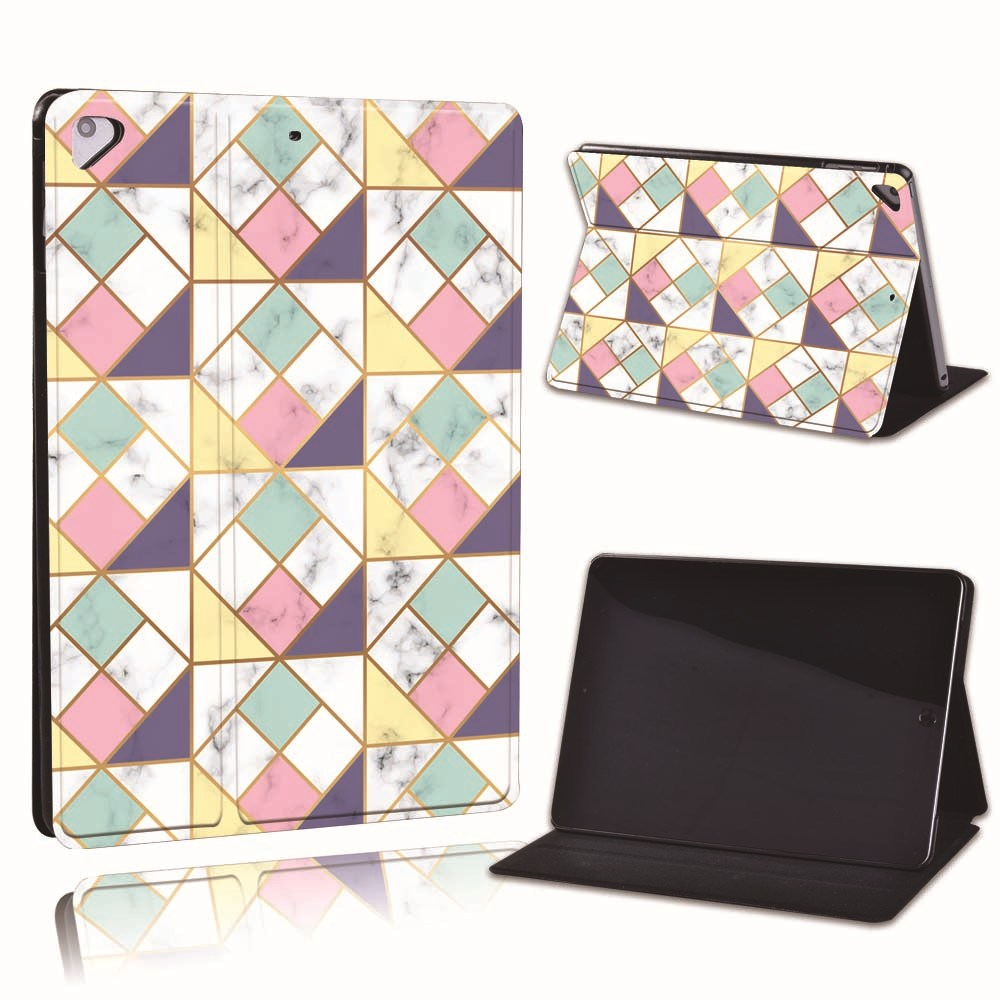 8.pink blue square Gray For Apple iPad 8 10 2 2020 8th 8 Generation A2428 A2429 Slim Printed Geometry PU