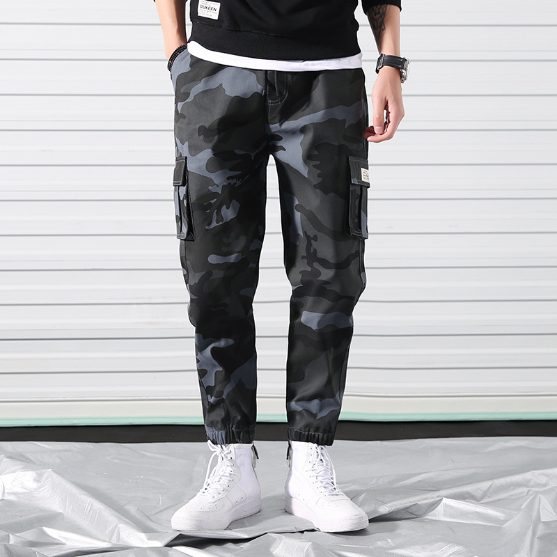 Spring Camouflage Ankle Banded Pants Men's Casual Pants Skinny Pants Harem Workwear Men's Popular Brand Loose-Fit INS Lace-up Ca