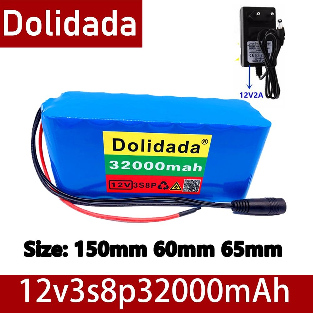 Novo 18650 bateria 12v 32000mah bateria 18650 bateria de lítio placa de proteção 12v 32000mah inversor mineiro + 12.6v carregador