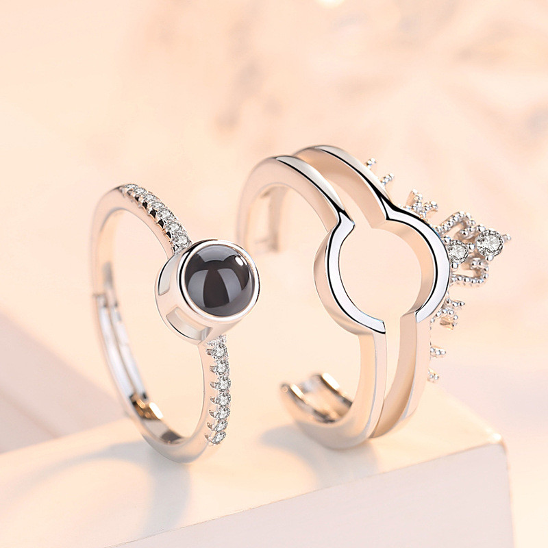 Silver 925 Jewelry 100 Languages I Love You Projection Ring Two-in-One Couple Ring Romantic Love Memory Wedding Jewelry