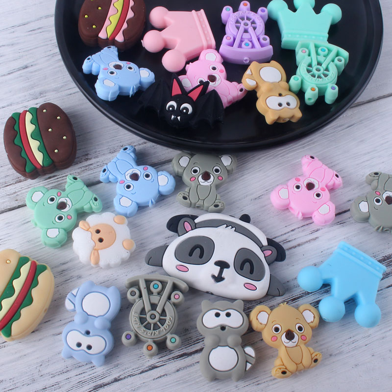 XCQGH 3Pcs Baby Silicone Beads Cartoon Mini Animal Silicone Teething Beads For DIY Pacifier Clip Teether Strap