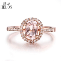 HELON Solid 10K Rose Gold Flawless Oval 7x5mm Natural Morganite Diamond Ring Women Wedding & Anniversary Band Fine Jewelry Gift