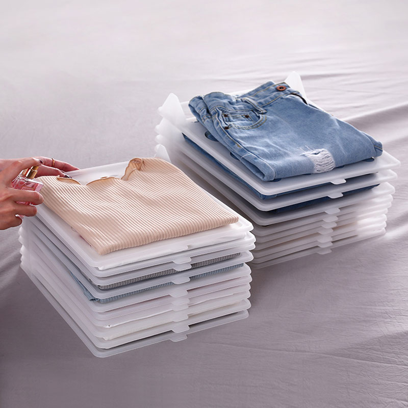 5 Pcs/Set T-<font><b>Shirt</b></font> Collection Rack Simple Dress Finishing <font><b>Organizer</b></font> Stacking Board Clothes Folding Holder Lazy Clothes Finishing image