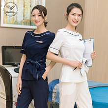 Beauty Uniforms Short Sleeve Scrubs Tops /Pants Women Lab Pet Shop Workwear Beautician Jacket White Bavy Blue Plus Size S-4XL
