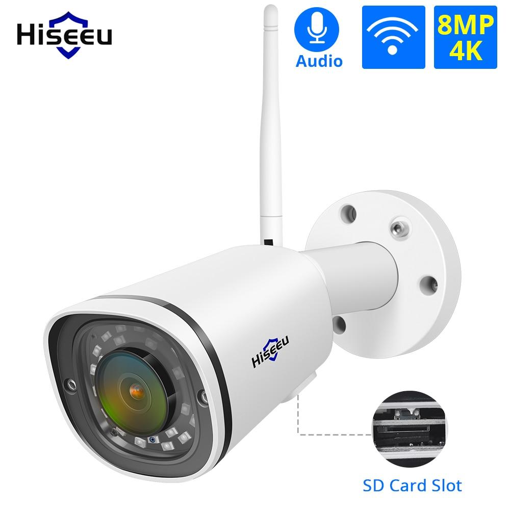 Hiseeu 4K Wireless IP Camera WIFI 2.4GHz SD Card Slot Outdoor Waterprooof 8MP Network Audio Bullet Securtiy CCTV Camera Onvif