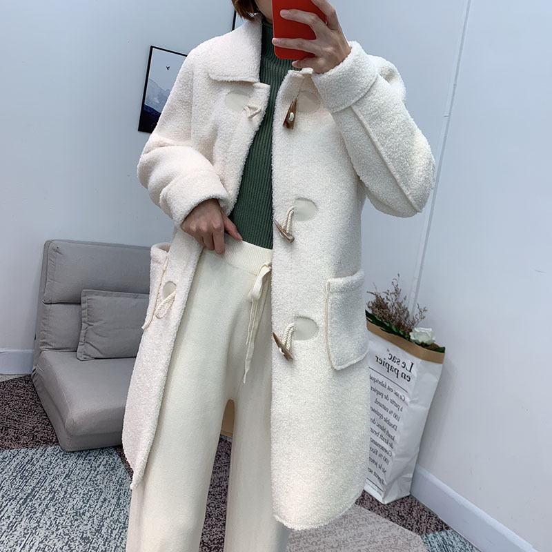 loose lamb horn buckle wool coat