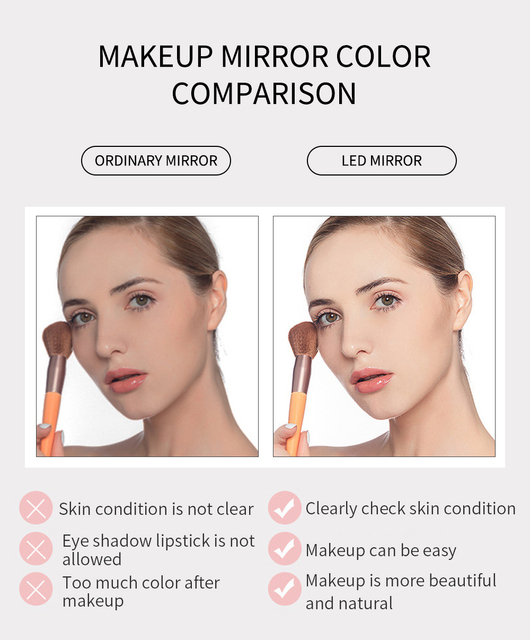 LED Makeup Mirror with led light Vanity Mirror light led mirror miroir зеркало для макияжа spiegel espejo de maquillaje CFTDIS 4
