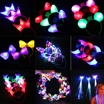 Wedding Party Crown Flower Headband LED Light Christmas Neon Wreath Decoration Luminous Hair Garland Hairband Glow Party party glowing wreath halloween crown flower headband women girls led light up hair wreath hairband garlands gift
