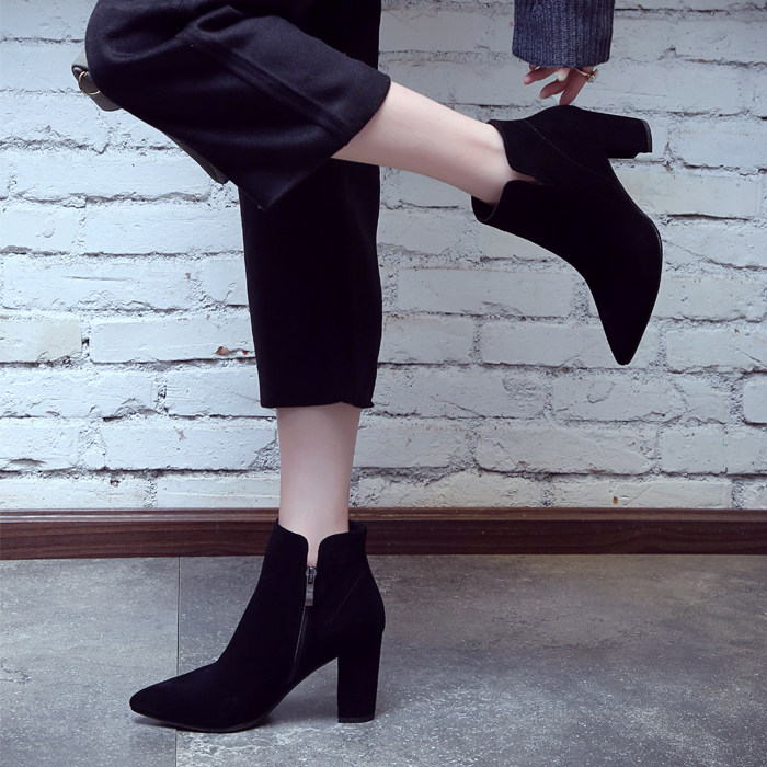 2019 winter new ankle leather cowhide boots chunky high heel female pointed cashmere work fashion