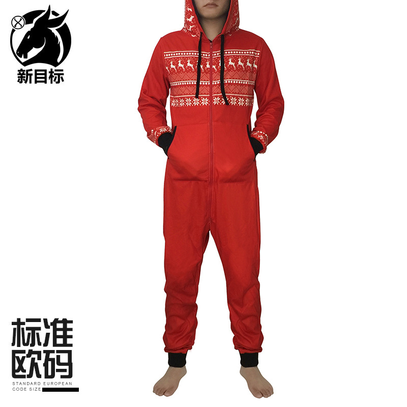2019 Winter Hooded Brushed And Thick Onesie Red Snowflake Printed Couples Long Sleeve Pajamas Tracksuit