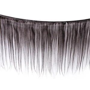 Image 2 - ストレートバンドルによる閉鎖 Meches Humaines Cheveux ペルー髪 3 バンドルと閉鎖 1/2 個レミーヘアエクステ