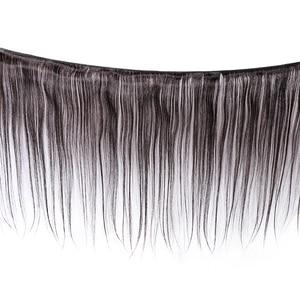 Image 2 - Przez proste wiązki z zamknięciem Meches Humaines Cheveux peruwiański włosów 3 wiązki z zamknięciem 1/2 sztuk Remy włosów ludzkich rozszerzenie