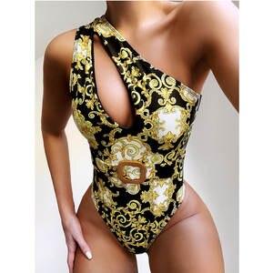 One-Piece Swimsuit Thong Brazilian Monokini One-Shoulder Women Sexy High-Waist Female