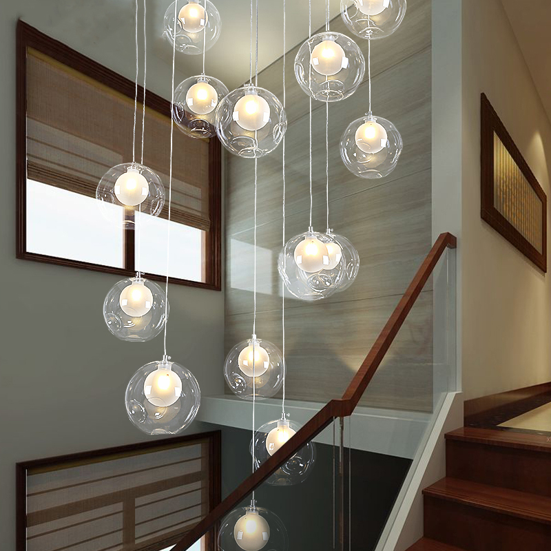Nordic LED Bubble Glass Pendant Light Modern Stairs Hanging Lamp for Home Living Room Kitchen Suspension Art Lighting Fixture