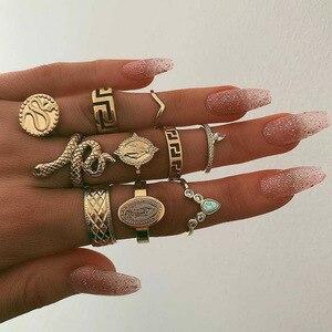 KMVEXO 10Pcs/Set Vintage Boho Snake Crystal Finger Rings Set Punk Bohemian Buddha Statue Stone Ring for Women Party Jewelry Gift(China)